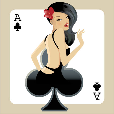 Clubs Poker Ace Girl